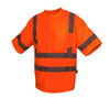 Pyramex Class 3 Hi Vis Orange Moisture Wicking T-Shirt with Chest Pocket RTS3420 Front