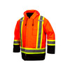 Pyramex Class 3 Hi Vis Orange Two-Tone X-Back Black Bottom Trim 7-in-1 Parka RC7P3520 Front