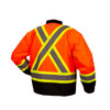 Pyramex Class 3 Hi Vis Orange Two-Tone X-Back Black Bottom Trim 7-in-1 Parka RC7P3520 Inner Jacket Back