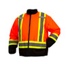 Pyramex Class 3 Hi Vis Orange Two-Tone X-Back Black Bottom Trim 7-in-1 Parka RC7P3520 Inner Jacket Front