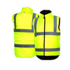 Pyramex Class 2 Hi Vis Lime Quilted Reversible Safety Vest RWVZ4510 Front/Back