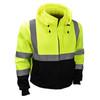 Radians Class 3 Hi Vis Green Black Bottom Hooded Sweatshirt SJ32-3ZGS Front