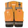 Occunomix Class 2 Hi Vis Black Bottom Mesh Surveyor Vest LUX-LTGCSBK Orange Front
