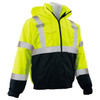ERB Class 3 Hi Vis Lime Black Bottom 3-in-1 Bomber Jacket W530B Right Side Profile
