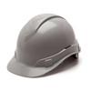Box of 16 Pyramex Ridgeline Cap Style 4-Point Ratchet Hard Hats HP44112 Gray Front Angled