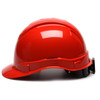 Box of 16 Pyramex Ridgeline Cap Style 4-Point Ratchet Hard Hats HP44120 Red Side Profile