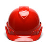 Box of 16 Pyramex Ridgeline Cap Style 4-Point Ratchet Hard Hats HP44120 Red Front