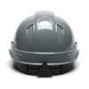 Box of 16 Pyramex Ridgeline Cap Style 4-Point Ratchet Hard Hats HP4413 Slate Gray Back