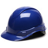 Box of 16 Pyramex Ridgeline Cap Style 4-Point Ratchet Hard Hats HP44160 Blue Front Angled