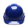 Box of 16 Pyramex Ridgeline Cap Style 4-Point Ratchet Hard Hats HP44160 Blue Front