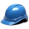 Box of 16 Pyramex Ridgeline Cap Style 4-Point Ratchet Hard Hats HP44162 Light Blue Front Angled