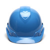 Box of 16 Pyramex Ridgeline Cap Style 4-Point Ratchet Hard Hats HP44162 Light Blue Front