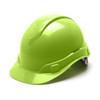 Box of 16 Pyramex Hi Vis Ridgeline Cap Style 4-Point Ratchet Hard Hats HP44131 Hi Vis Lime Front Angled
