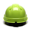 Box of 16 Pyramex Hi Vis Ridgeline Cap Style 4-Point Ratchet Hard Hats HP44131 Hi Vis Lime Back