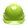 Box of 16 Pyramex Hi Vis Ridgeline Cap Style 4-Point Ratchet Hard Hats HP44131 Hi Vis Lime Front