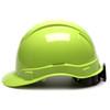Box of 16 Pyramex Hi Vis Ridgeline Cap Style 4-Point Ratchet Hard Hats HP44131 Hi Vis Lime Side Profile
