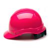Box of 16 Pyramex Hi Vis Ridgeline Cap Style 4-Point Ratchet Hard Hats HP44170 Hi Vis Pink Side Profile