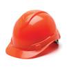 Box of 16 Pyramex Hi Vis Ridgeline Cap Style 4-Point Ratchet Hard Hats HP44141 Hi Vis Orange Front Angled