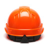 Box of 16 Pyramex Hi Vis Ridgeline Cap Style 4-Point Ratchet Hard Hats HP44141 Hi Vis Orange Back