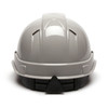 Box of 16 Pyramex Ridgeline Cap Style Vented 4-Point Ratchet Hard Hats HP44112V Gray Back