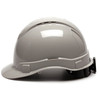 Box of 16 Pyramex Ridgeline Cap Style Vented 4-Point Ratchet Hard Hats HP44112V Gray Side Profile