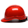 Box of 16 Pyramex Ridgeline Cap Style Vented 4-Point Ratchet Hard Hats HP44120V Red Side Profile