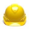 Box of 16 Pyramex Hi Vis Ridgeline Cap Style Vented 4-Point Ratchet Hard Hats HP44130V Yellow Front