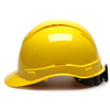 Box of 16 Pyramex Hi Vis Ridgeline Cap Style Vented 4-Point Ratchet Hard Hats HP44130V Yellow Side Profile