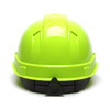 Box of 16 Pyramex Hi Vis Ridgeline Cap Style Vented 4-Point Ratchet Hard Hats HP44131V Hi Vis Lime Back