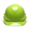 Box of 16 Pyramex Hi Vis Ridgeline Cap Style Vented 4-Point Ratchet Hard Hats HP44131V Hi Vis Lime Front