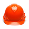 Box of 16 Pyramex Hi Vis Ridgeline Cap Style Vented 4-Point Ratchet Hard Hats HP44141V Hi Vis Orange Front