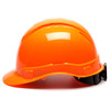 Box of 16 Pyramex Hi Vis Ridgeline Cap Style Vented 4-Point Ratchet Hard Hats HP44141V Hi Vis Orange Side Profile