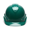 Box of 16 Pyramex Ridgeline Cap Style 6-Point Ratchet Hard Hats HP46135 Green Front