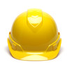 Box of 16 Pyramex Hi Vis Ridgeline Cap Style 6-Point Ratchet Hard Hats HP46130 Yellow Front