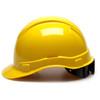 Box of 16 Pyramex Hi Vis Ridgeline Cap Style 6-Point Ratchet Hard Hats HP46130 Yellow