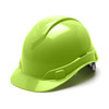 Box of 16 Pyramex Hi Vis Ridgeline Cap Style 6-Point Ratchet Hard Hats HP46131 Hi Vis Lime Front Angled