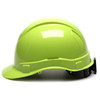 Box of 16 Pyramex Hi Vis Ridgeline Cap Style 6-Point Ratchet Hard Hats HP46131 Hi Vis Lime Side Profile