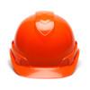 Box of 16 Pyramex Hi Vis Ridgeline Cap Style 6-Point Ratchet Hard Hats HP46141 Hi Vis Orange Front