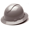 Box of 12 Pyramex Ridgeline Full Brim 4-Point Ratchet Hard Hats HP54112 Gray Front Angled