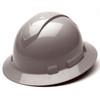 Box of 12 Pyramex Ridgeline Full Brim 4-Point Ratchet Hard Hats HP54112 Gray Front Angled