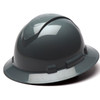 Box of 12 Pyramex Ridgeline Full Brim 4-Point Ratchet Hard Hats HP54113 Slate Gray