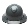 Box of 12 Pyramex Ridgeline Full Brim 4-Point Ratchet Hard Hats HP54113 Slate Gray Front
