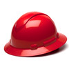 Box of 12 Pyramex Ridgeline Full Brim 4-Point Ratchet Hard Hats HP54120 Red Front Angled