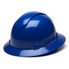 Box of 12 Pyramex Ridgeline Full Brim 4-Point Ratchet Hard Hats HP54160 Blue Front Angled