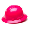 Box of 12 Pyramex Hi Vis Ridgeline Full Brim 4-Point Ratchet Hard Hats HP54170 Hi-Vis Pink Front Angled