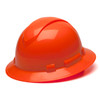 Box of 12 Pyramex Hi Vis Ridgeline Full Brim 4-Point Ratchet Hard Hats HP54141 Hi-Vis Orange Front Angled