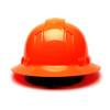 Box of 12 Pyramex Hi Vis Ridgeline Full Brim 4-Point Ratchet Hard Hats HP54141 Hi-Vis Orange Back