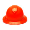 Box of 12 Pyramex Hi Vis Ridgeline Full Brim 4-Point Ratchet Hard Hats HP54141 Hi-Vis Orange Front