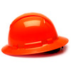 Box of 12 Pyramex Hi Vis Ridgeline Full Brim 4-Point Ratchet Hard Hats HP54141 Hi-Vis Orange Side Profile