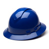 Box of 12 Pyramex Ridgeline Full Brim Vented 4-Point Ratchet Hard Hats HP54160V Blue Front Angled